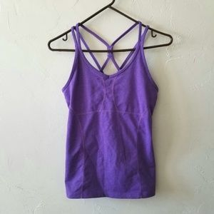 Athleta Empowerment Purple Strappy Workout Top